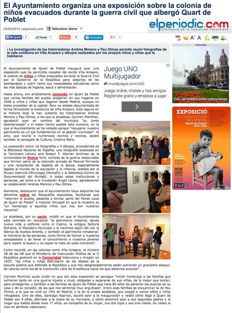 Nota de premsa sobre la inauguració (El Periodico.com 23/04/2013)
